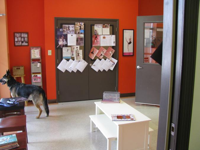 Parting images; the school's lobby, and Clarence-the-canine