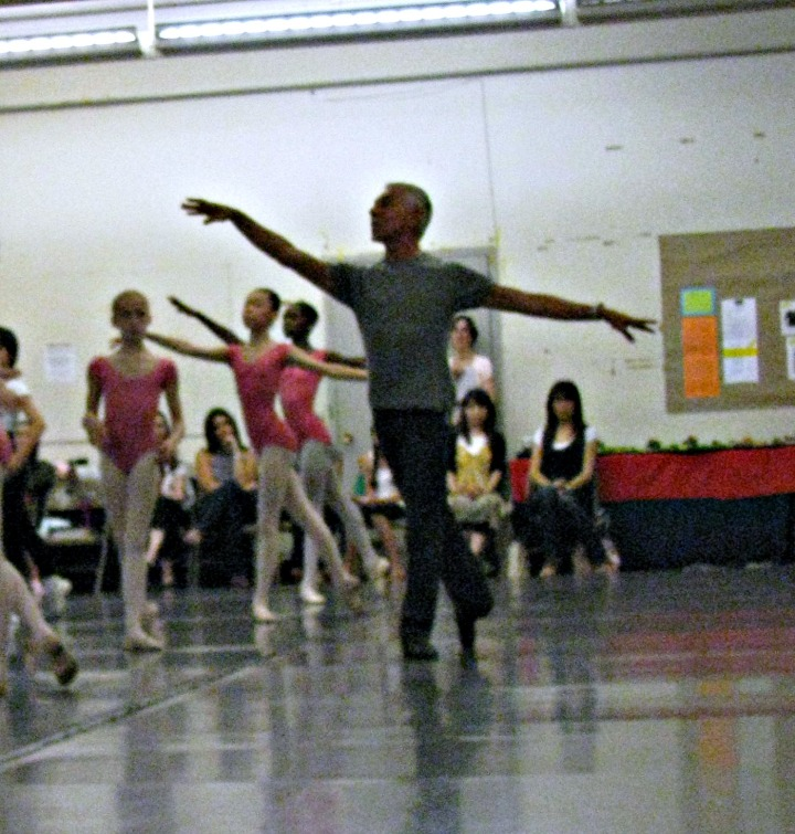 Franco De Vita sets an exercise in center floor during a demonstration class during teacher training; July, 2009
