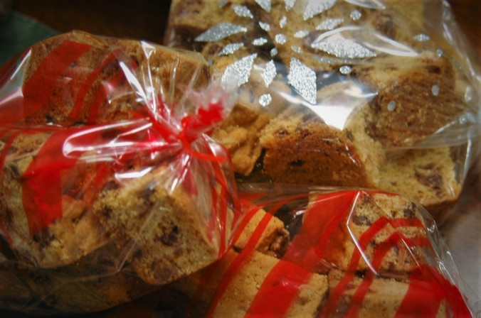 Toll House cookie bars in holiday wrappers