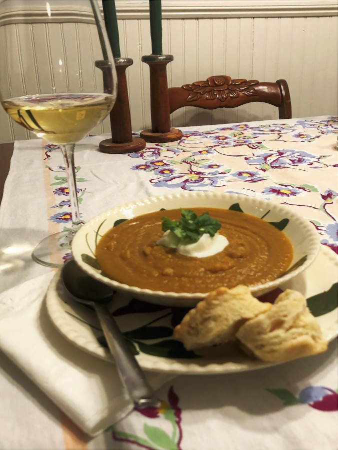 Finished Soup, Plated, with Biscuit and Wine