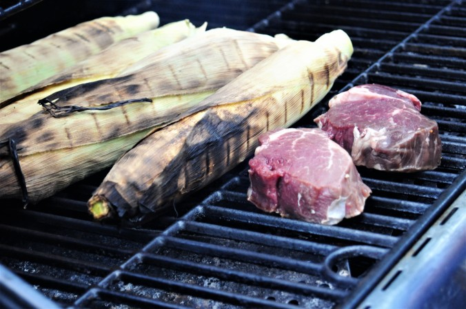 grilling corn and filets